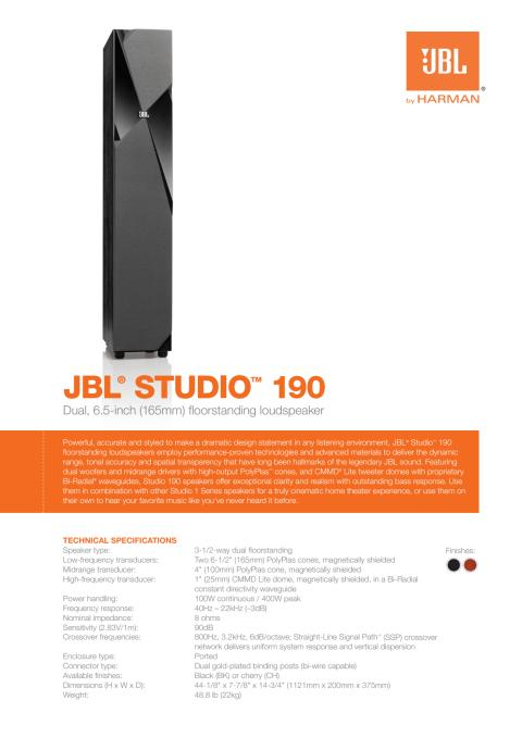 Specification sheet - JBL Studio 190 (English)