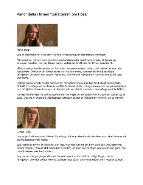 """Citat från """"Berättelsen om Rosa – en film med och om fosterbarn"""""""