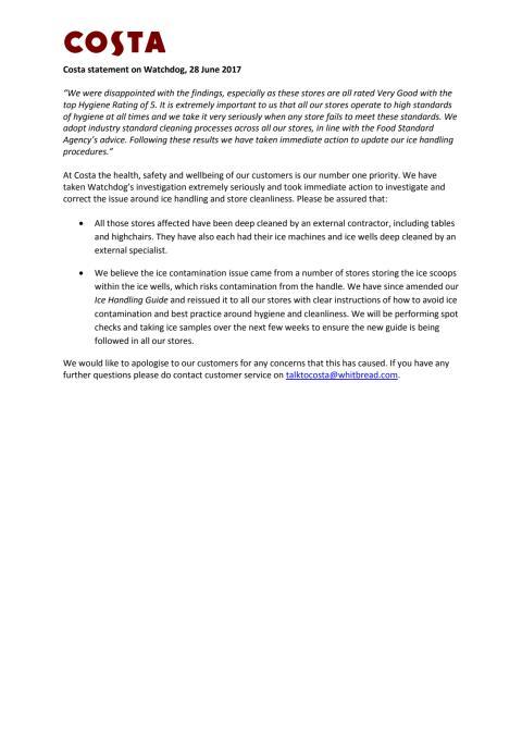 Costa statement on Watchdog - COSTA COFFEE