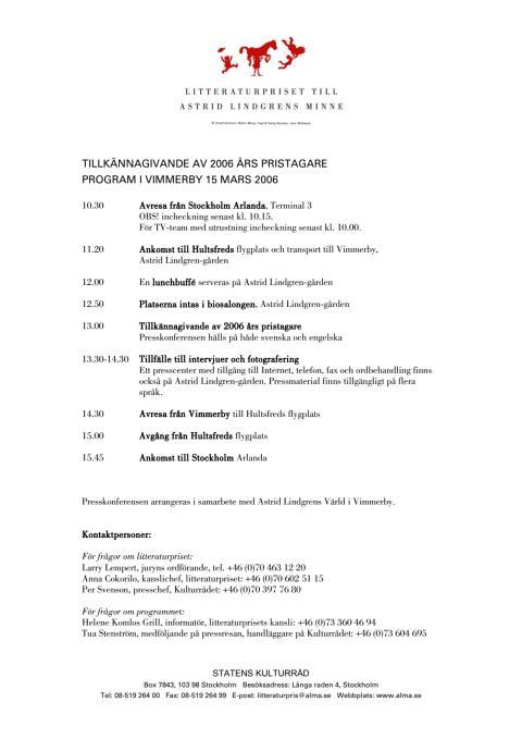 Program för pressresa till Vimmerby