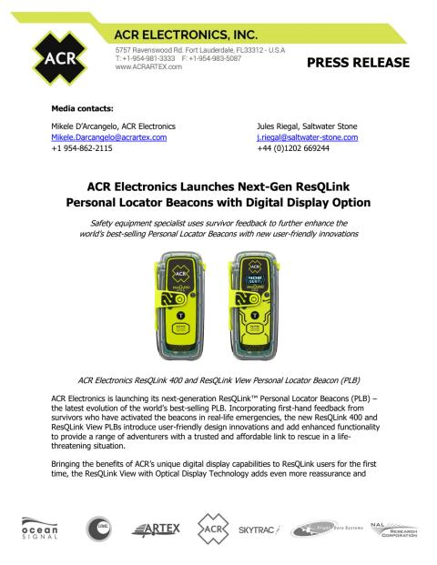 ACR Electronics Launches Next-Gen ResQLink Personal Locator Beacons with Digital Display Option