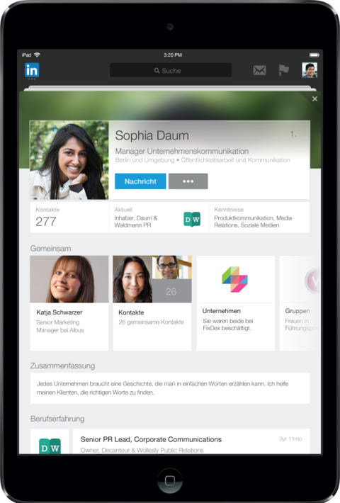Linkedin optimiert Nutzerprofile für Mobilgeräte: iPad