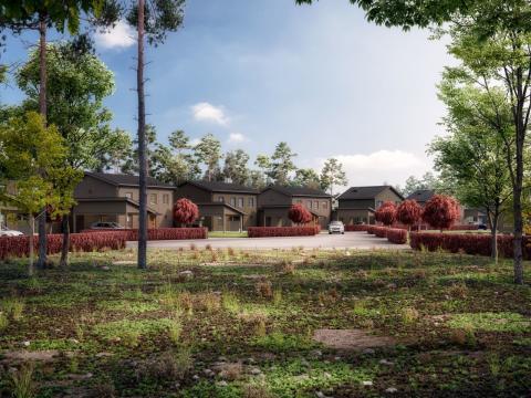 Kv Hällmarken - 3D-bild av området och tvåplanshusen