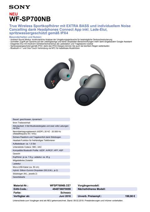 Datenblatt Kopfhörer WF-SP700N von Sony