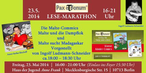 """Malte fährt mit seiner Dampflock zum """"24 Stunden Buch""""/Pax et Bonum Verlag - Kleiner Lese-Marathon mit guten Büchern 23.05.2014 im Haus der Jugend Anne Frank."""
