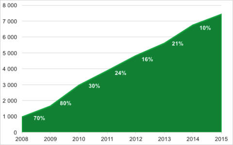 Rut-branschen ökat med 10% senaste året och 750% sedan 2008