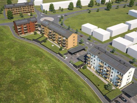Översiktsillustration av de nya lägenheterna i BoKlok Paraden, Upplands Väsby