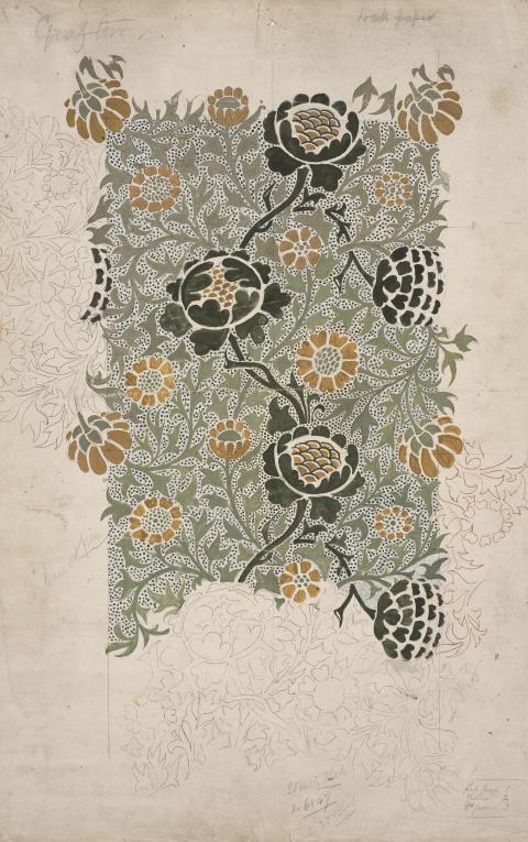 William Morris, Grafton (Grafton), forlæg til tapet, blyant og akvarel på papir, designet 1883. The William Morris Society
