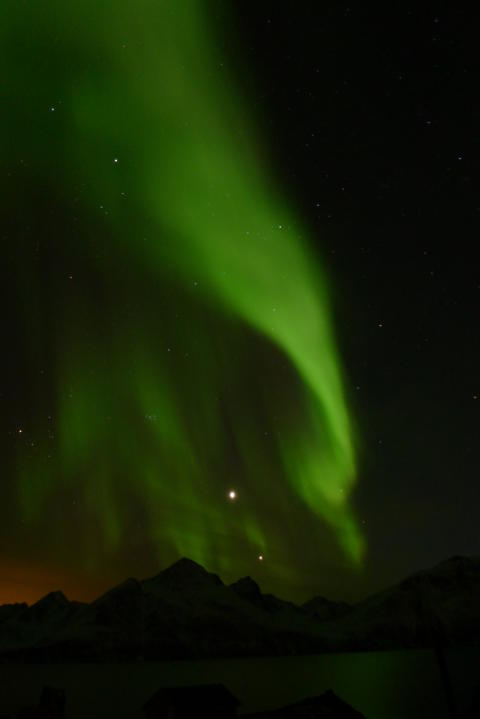 The first Northern lights over Lyngenfjord