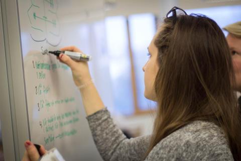 Student i klassrum