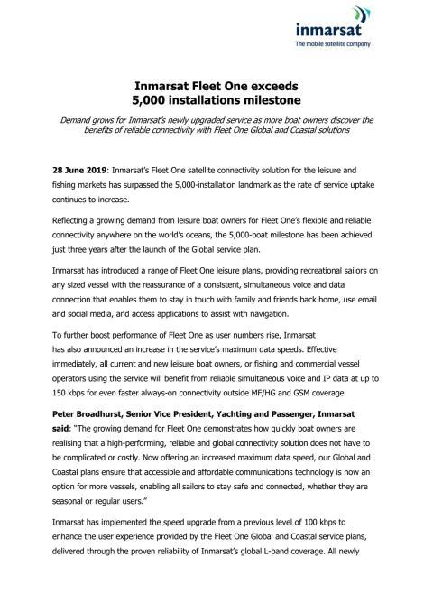 Inmarsat Fleet One exceeds 5,000 installations milestone
