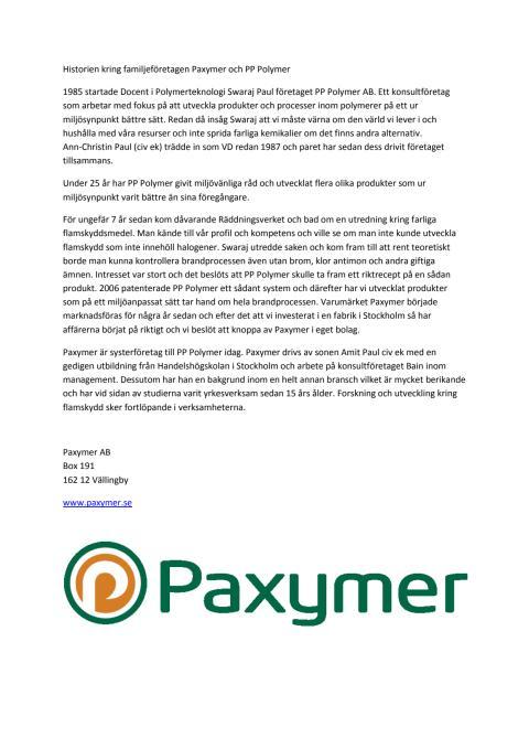 Historien kring Paxymer