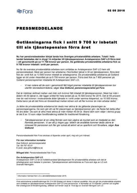 Gotlänningarna fick i snitt 9 700 kr inbetalt till sin tjänstepension förra året