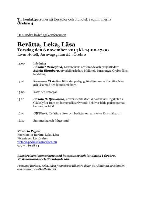 Berätta, Leka, Läsa Örebro 6 november 2014