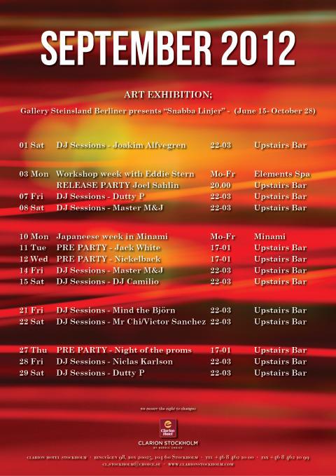 Eventkalender september - Clarion Hotel Stockholm