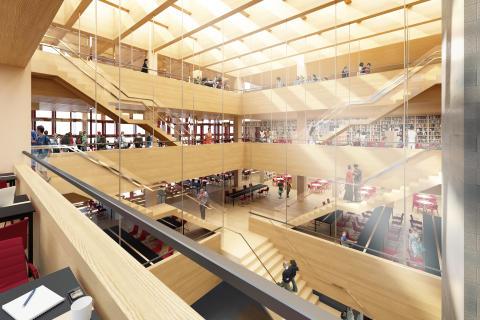 Skiss nya studenthuset (interiör), Linköpings universitet