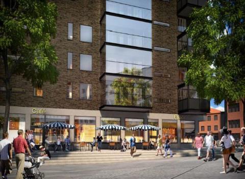 Kvarteret Backen, söderfasaden, Sjövik 5, SWECO Architects