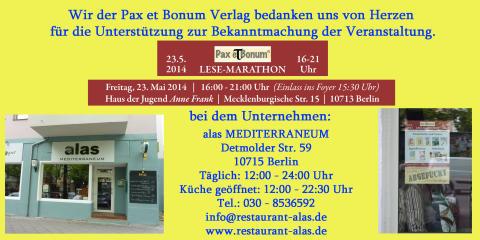 Wir der Pax et Bonum Verlag bedanken uns von Herzen bei alas MEDITERRANEUM für die Unterstützung zur Bekanntmachung der Veranstaltung.