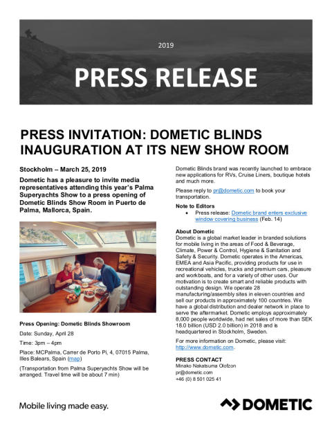Dometic press event: Invitation to opening of Dometic Blinds Show Room in Puerto de Palma
