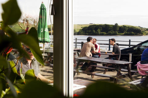 Relaxing at a pub by Hollingworth Lake