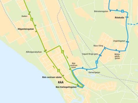 Ny sträckning för stadsbuss linje 1 och 2 på Råå och Ättekulla, från 13 augusti 2017