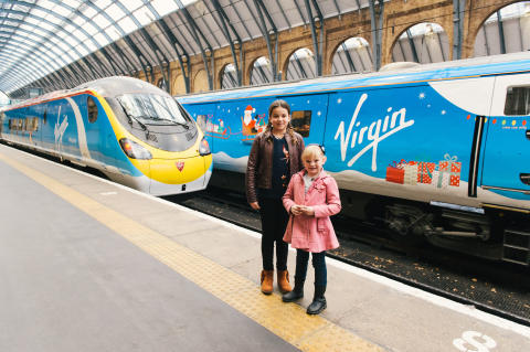 Virgin unveils flagship Christmas Trains designed by children Designs by 9 and 11 year olds revealed at King's Cross Station