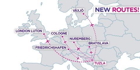 Wizz Air startar flyglinje mellan Växjö Småland Airport och Tuzla