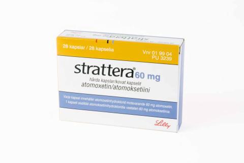 Strattera 60 mg förpackning