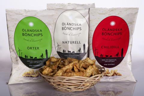 Unika prisbelönade chips av ekologiska bruna bönor från Öland