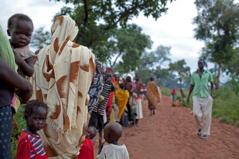 Flyktingar från Södra Kordofan söker skydd i flyktinglägret Yida, Sydsudan. Foto: Mackenzie Knowles-Coursin.