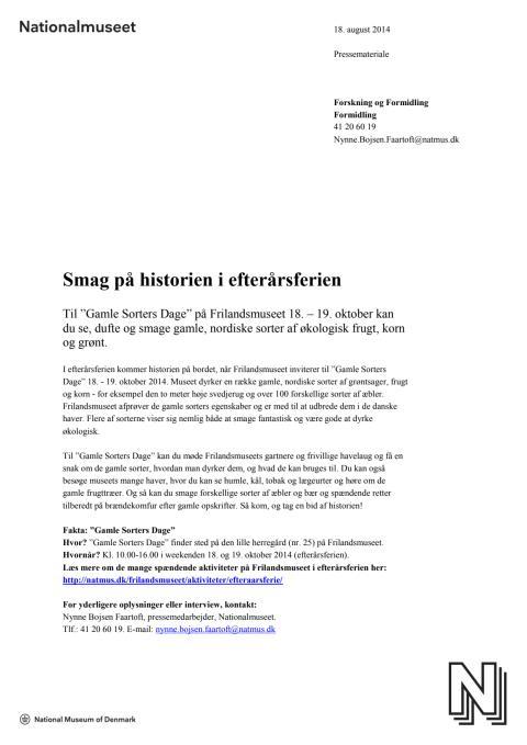 """Pressemateriale om """"Gamle Sorters Dage"""" på Frilandsmuseet"""