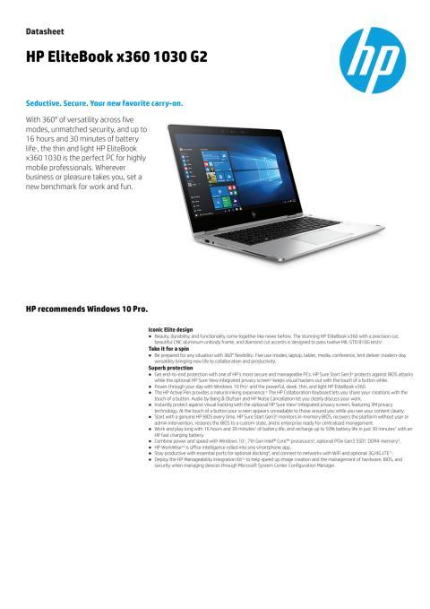 HP EliteBook x360 datasheet eng