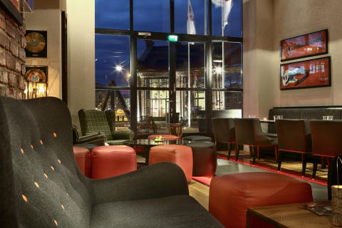 Bar seating at Hotel Torni Tampere, Finland, by Stylt