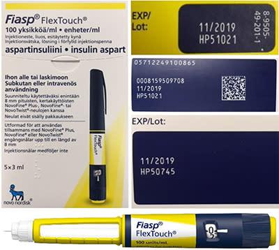 Indragning av Fiasp injektionspenna