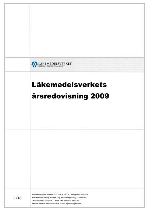 Läkemedelsverkets årsredovisning 2009
