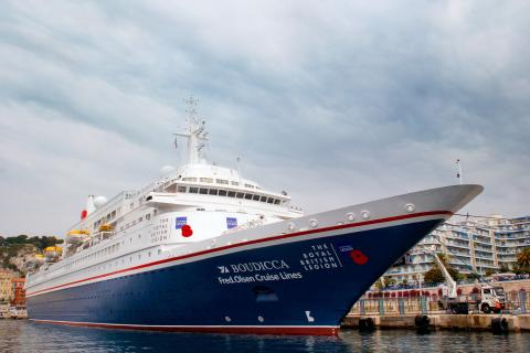 Fred. Olsen Cruise Lines' 'Boudicca' wears its poppies with pride on The Royal British Legion's 'D-Day 75 Voyage of Remembrance'