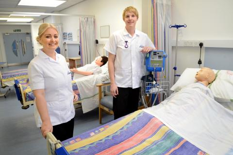 Jessica McCabe and Sean Harrison in Northumbria University's Clinical Skills Centre