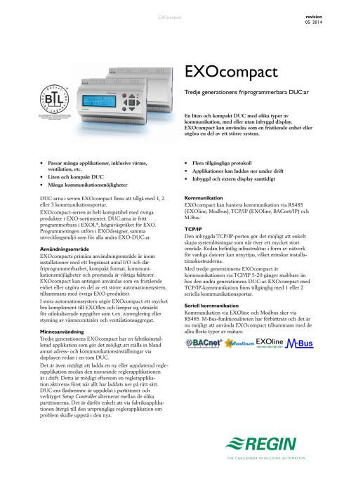 Produktblad för EXOcompact med integrerad M-Bus