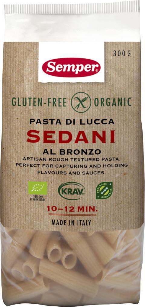 Sedani - glutenfri och ekologisk pasta