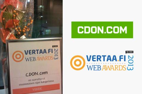 CDON.com vinnare i Vertaa.fi Web Awards