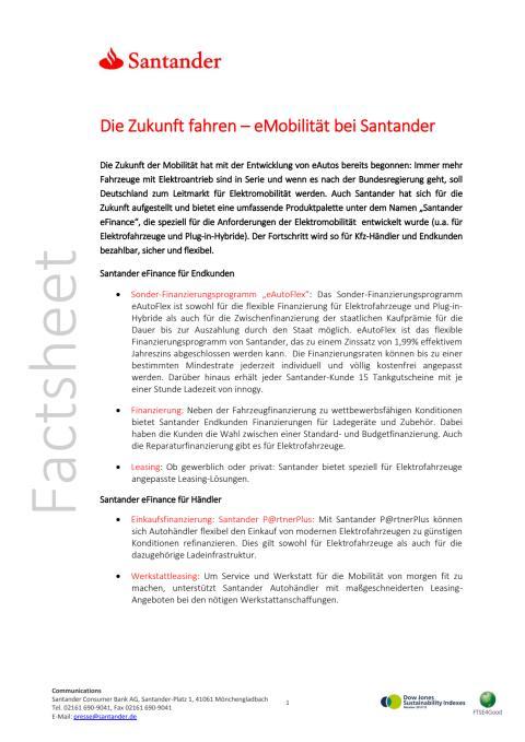 Santander eFinance - Factsheet