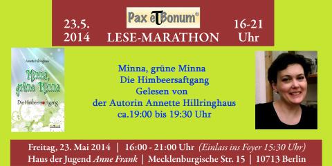"""Autorin Annette Hillringhaus liest aus Ihrem Buch """"Minna, grüne Minna"""" bei  """"24 Stunden Buch""""/Pax et Bonum Verlag - Kleiner Lese-Marathon mit guten Büchern 23.05.2014 im Haus der Jugend Anne Frank."""