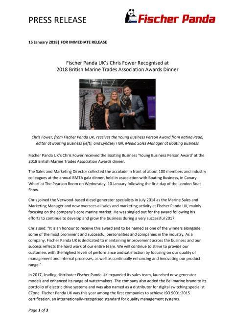 Fischer Panda UK's Chris Fower Recognised at  2018 British Marine Trades Association Awards Dinner