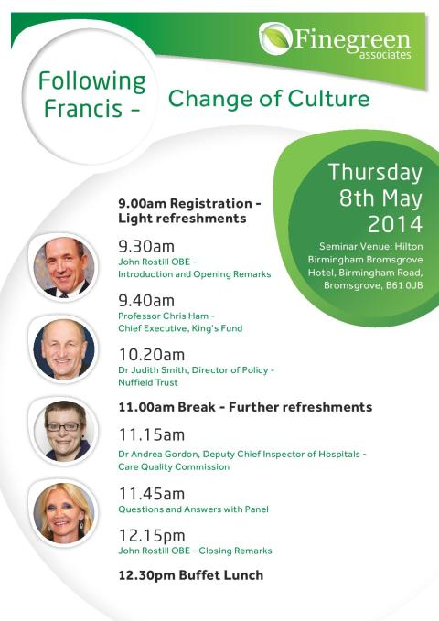 Finegreen hosting 'Following Francis - Change of Culture' Seminar this week!