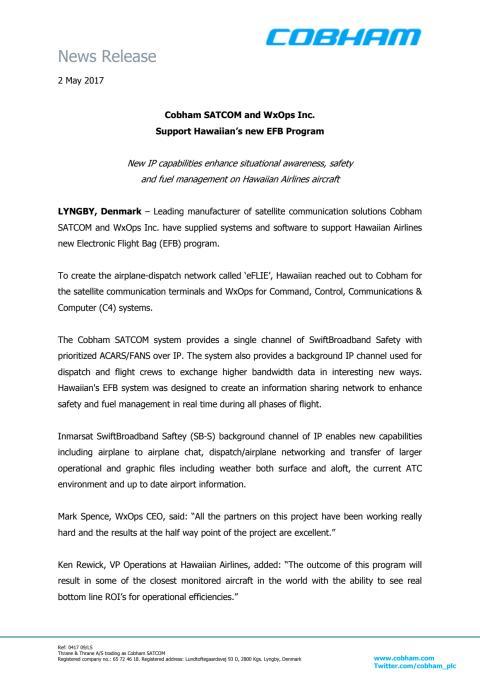 Cobham SATCOM and WxOps Inc.  Support Hawaiian's new EFB Program