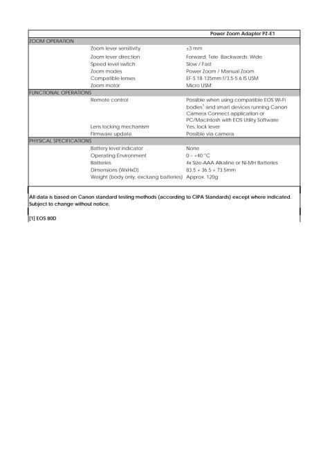 Canon Tekniska specifikationer Power Zoom Adapter PZ-E1