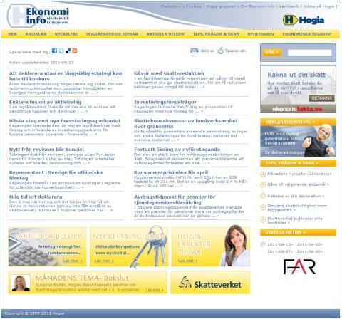 Aktuellt om nyhetsbrevet och hemsidan Ekonomi-info