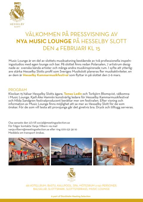 Pressinbjudan invigning av Music Lounge