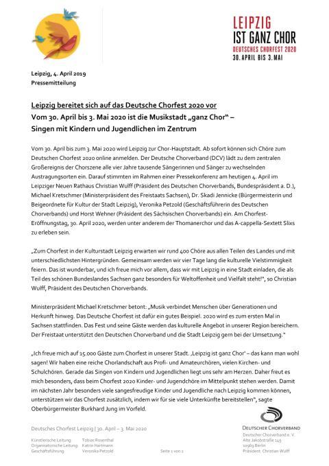 PM Deutsches Chorfest 2020
