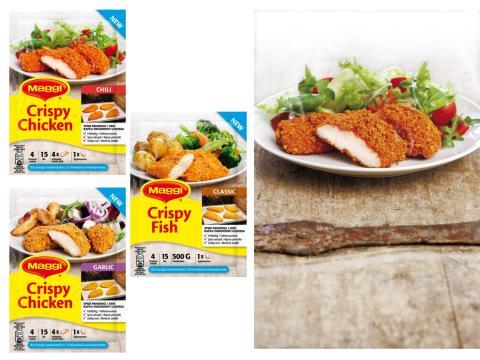 Sprø og fettfattig panering i ovn – Nestlé lanserer MAGGI Crispy til kylling og fisk
